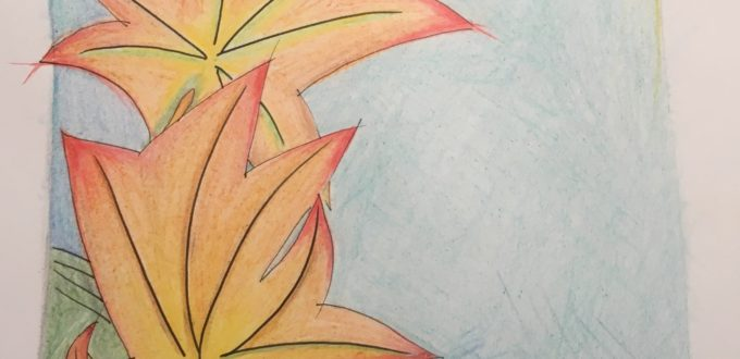 A coloured pencil sketch of fall leaves